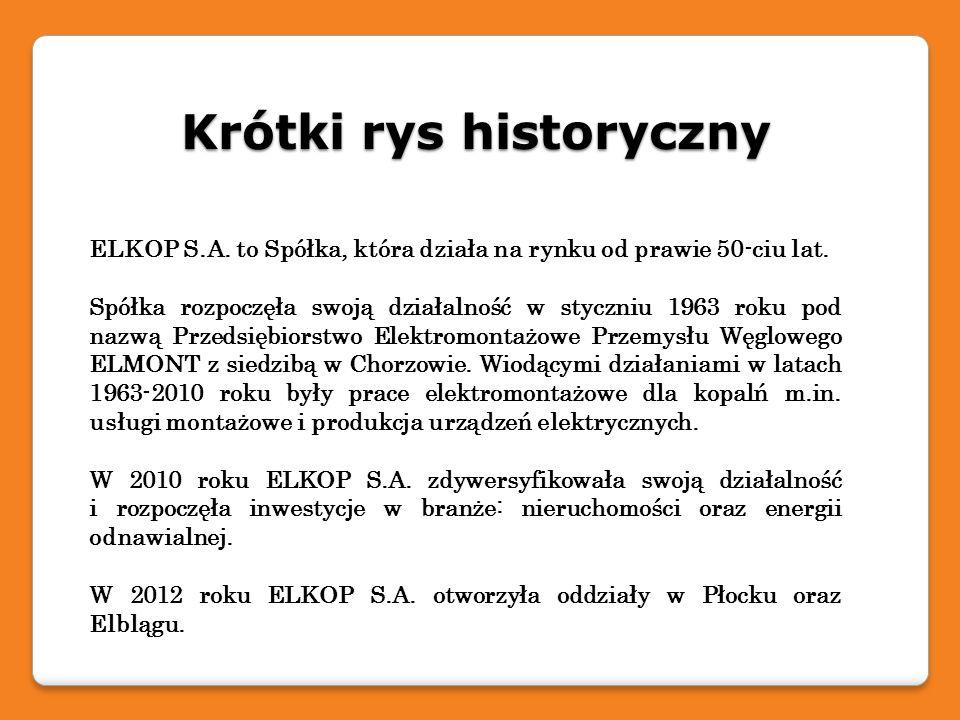 Krótki rys historyczny ELKOP S.A. to Spółka, która działa na rynku od prawie 50-ciu lat. Spółka rozpoczęła swoją działalność w styczniu 1963 roku pod