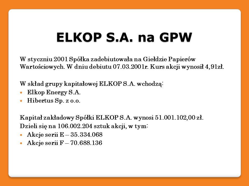 ELKOP S.A. na GPW W styczniu 2001 Spółka zadebiutowała na Giełdzie Papierów Wartościowych. W dniu debiutu 07.03.2001r. Kurs akcji wynosił 4,91zł. W sk