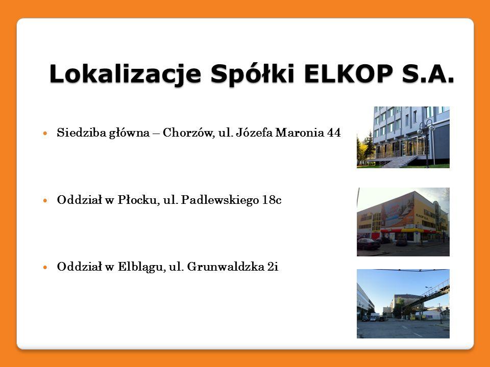 Lokalizacje Spółki ELKOP S.A. Siedziba główna – Chorzów, ul. Józefa Maronia 44 Oddział w Płocku, ul. Padlewskiego 18c Oddział w Elblągu, ul. Grunwaldz