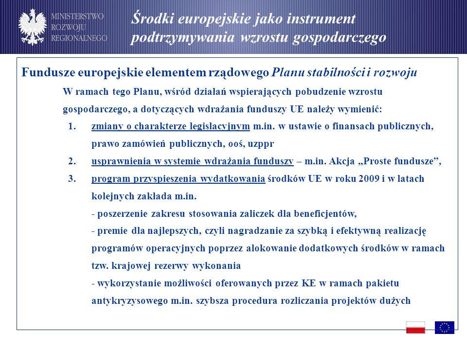 Fundusze europejskie elementem rządowego Planu stabilności i rozwoju W ramach tego Planu, wśród działań wspierających pobudzenie wzrostu gospodarczego, a dotyczących wdrażania funduszy UE należy wymienić: 1.zmiany o charakterze legislacyjnym m.in.