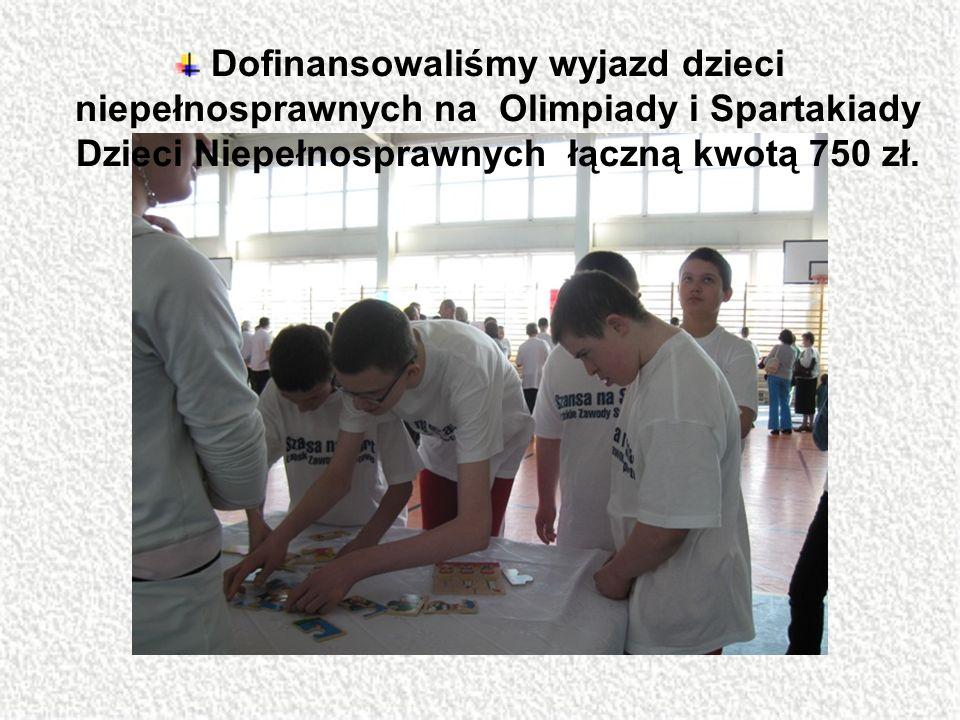 Dofinansowaliśmy wyjazd dzieci niepełnosprawnych na Olimpiady i Spartakiady Dzieci Niepełnosprawnych łączną kwotą 750 zł.
