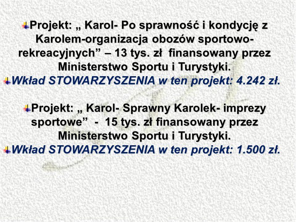 Projekt: Karol- Po sprawność i kondycję z Karolem-organizacja obozów sportowo- rekreacyjnych – 13 tys. zł finansowany przez Ministerstwo Sportu i Tury