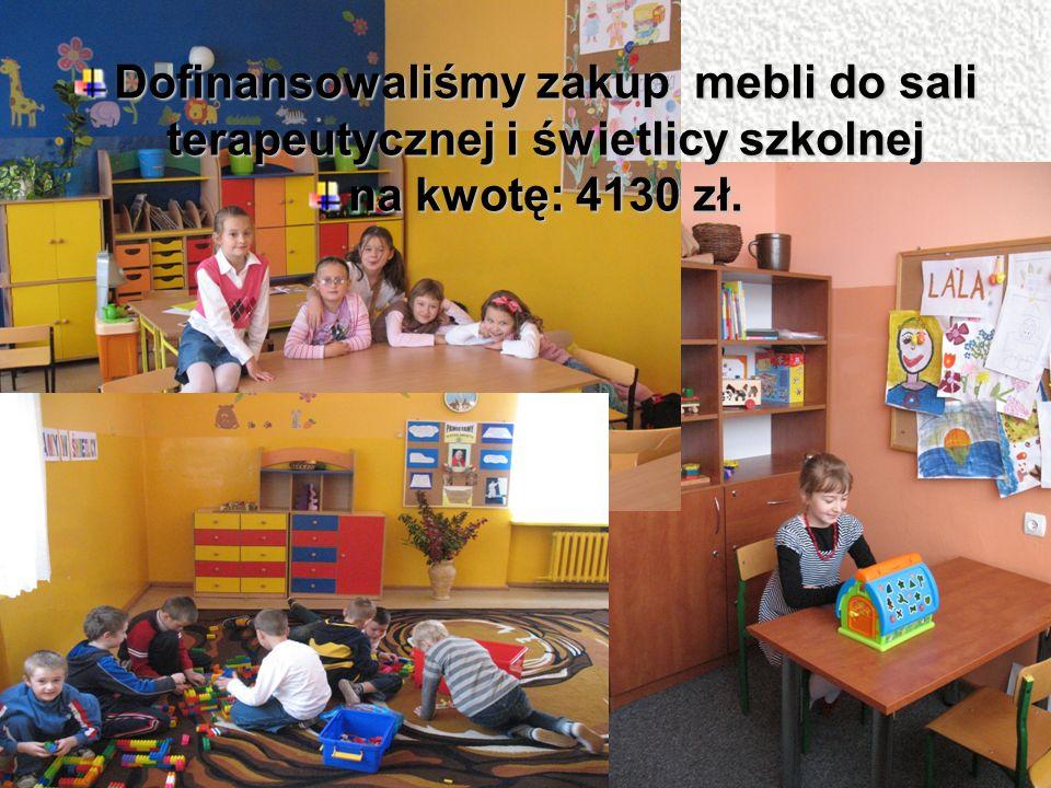 Dofinansowaliśmy zakup mebli do sali terapeutycznej i świetlicy szkolnej na kwotę: 4130 zł.