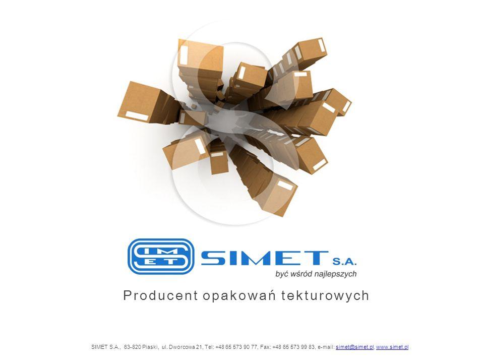 Producent opakowań tekturowych SIMET S.A., 63-820 Piaski, ul. Dworcowa 21, Tel: +48 65 573 90 77, Fax: +48 65 573 99 83, e-mail: simet@simet.pl, www.s