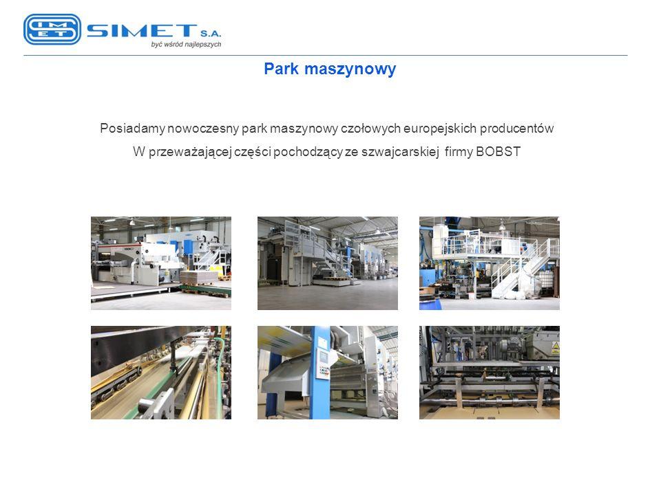 Park maszynowy Posiadamy nowoczesny park maszynowy czołowych europejskich producentów W przeważającej części pochodzący ze szwajcarskiej firmy BOBST