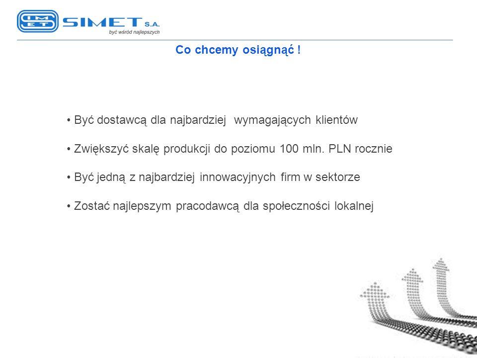 Co chcemy osiągnąć ! Być dostawcą dla najbardziej wymagających klientów Zwiększyć skalę produkcji do poziomu 100 mln. PLN rocznie Być jedną z najbardz