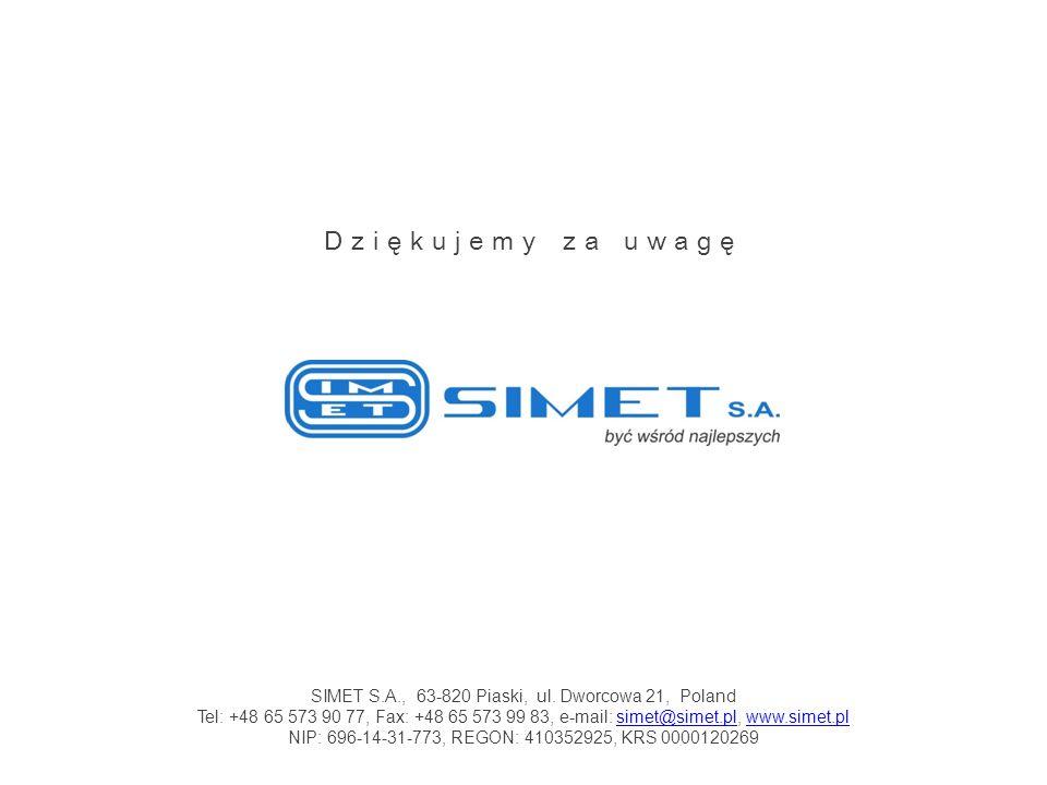 Dziękujemy za uwagę SIMET S.A., 63-820 Piaski, ul. Dworcowa 21, Poland Tel: +48 65 573 90 77, Fax: +48 65 573 99 83, e-mail: simet@simet.pl, www.simet