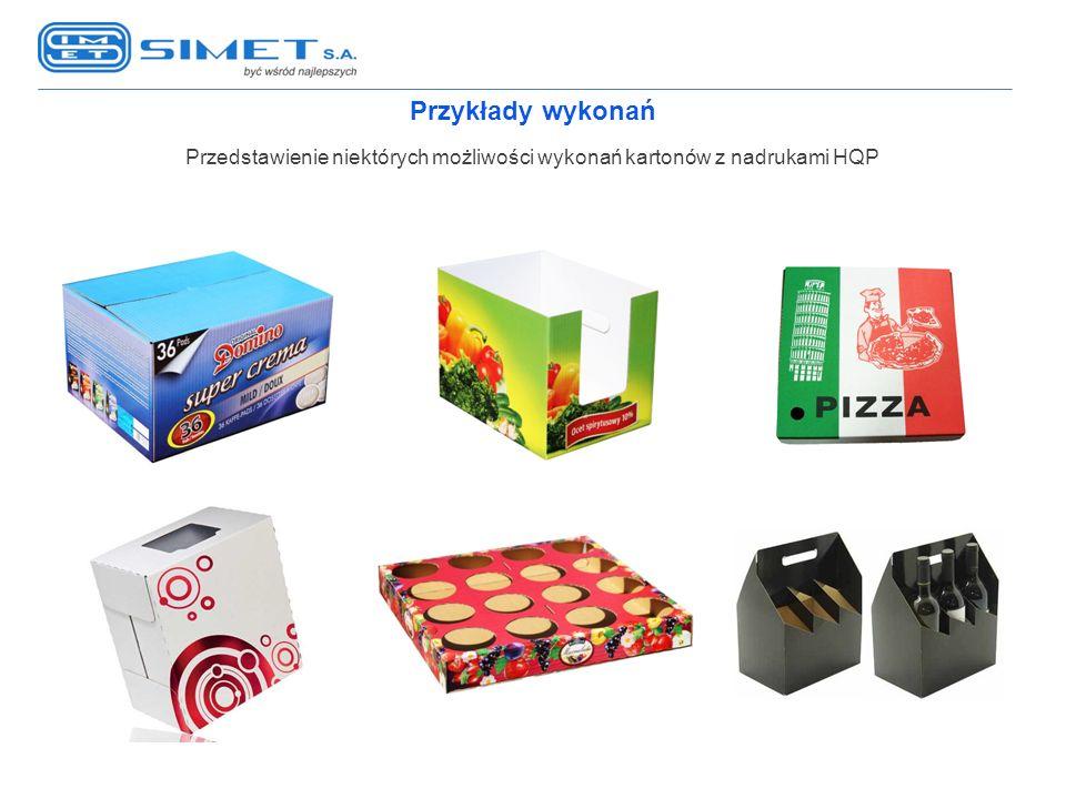 Przykłady wykonań Przedstawienie niektórych możliwości wykonań kartonów z nadrukami HQP