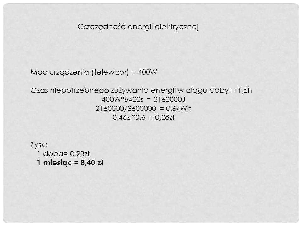 Moc urządzenia (telewizor) = 400W Czas niepotrzebnego zużywania energii w ciągu doby = 1,5h 400W*5400s = 2160000J 2160000/3600000 = 0,6kWh 0,46zł*0,6 = 0,28zł Zysk: 1 doba= 0,28zł 1 miesiąc = 8,40 zł Oszczędność energii elektrycznej