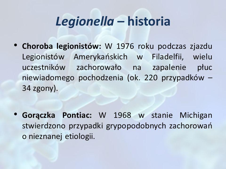 Legionella – historia Choroba legionistów: W 1976 roku podczas zjazdu Legionistów Amerykańskich w Filadelfii, wielu uczestników zachorowało na zapalen
