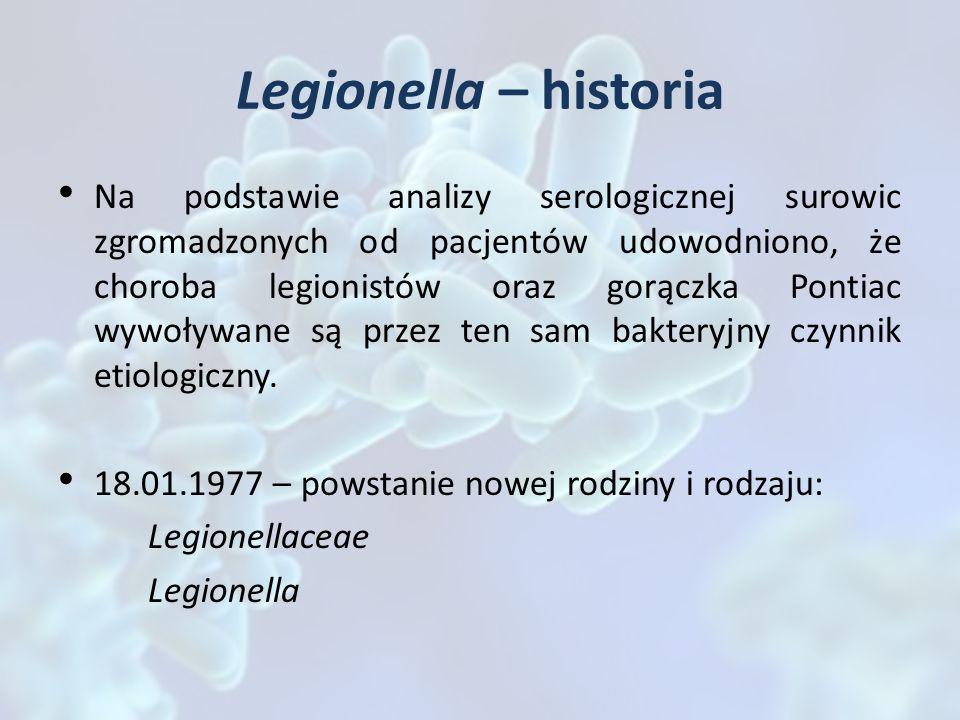 Legionella – historia Na podstawie analizy serologicznej surowic zgromadzonych od pacjentów udowodniono, że choroba legionistów oraz gorączka Pontiac