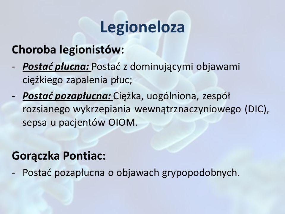 Legioneloza Choroba legionistów: -Postać płucna: Postać z dominującymi objawami ciężkiego zapalenia płuc; -Postać pozapłucna: Ciężka, uogólniona, zesp