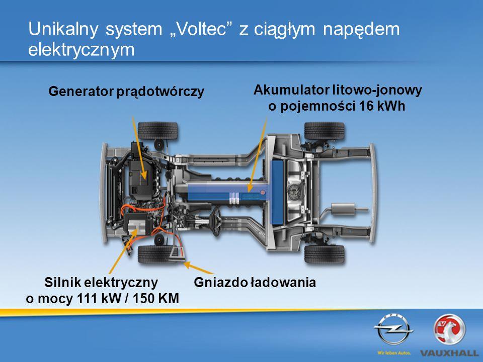 11 Unikalny system Voltec z ciągłym napędem elektrycznym 11 Generator prądotwórczy Akumulator litowo-jonowy o pojemności 16 kWh Silnik elektryczny o mocy 111 kW / 150 KM Gniazdo ładowania