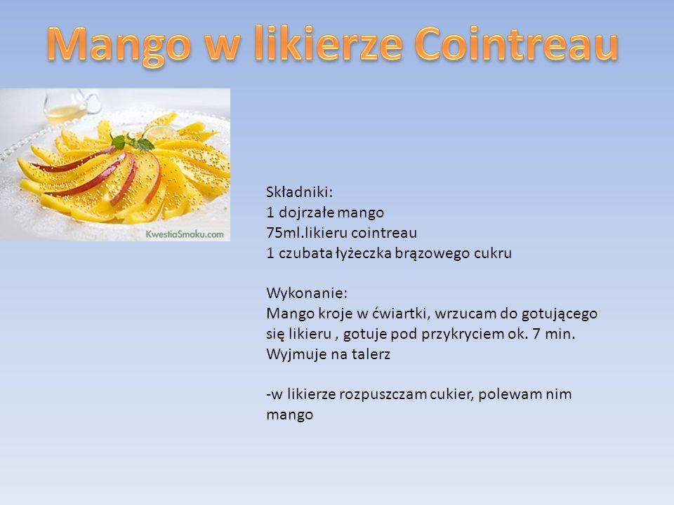 Składniki: 1 dojrzałe mango 75ml.likieru cointreau 1 czubata łyżeczka brązowego cukru Wykonanie: Mango kroje w ćwiartki, wrzucam do gotującego się lik