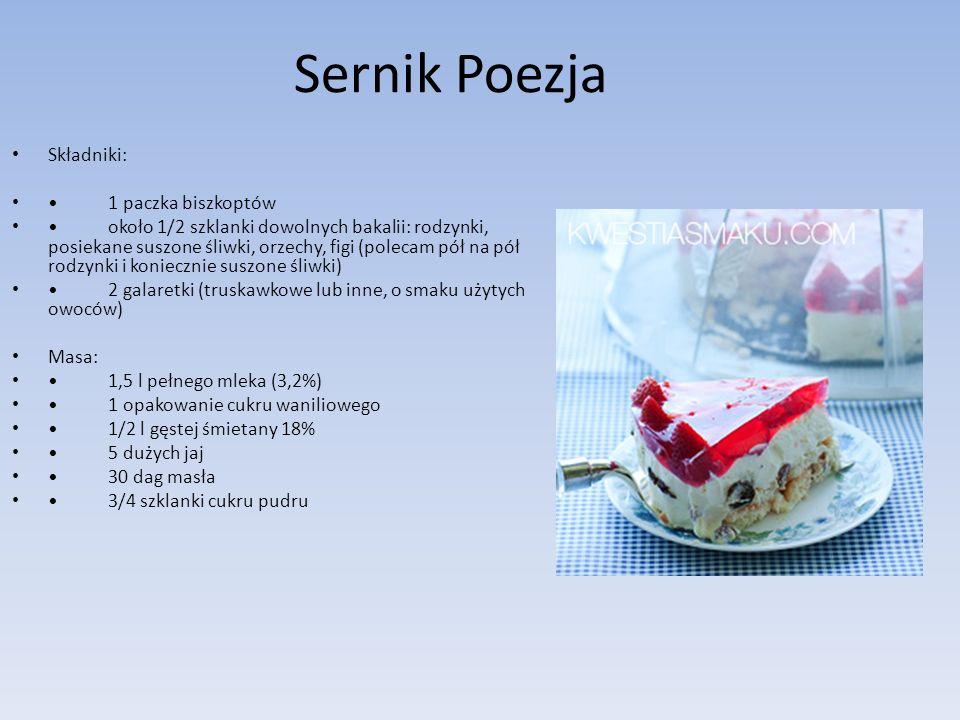 Sernik Poezja Składniki: 1 paczka biszkoptów około 1/2 szklanki dowolnych bakalii: rodzynki, posiekane suszone śliwki, orzechy, figi (polecam pół na p