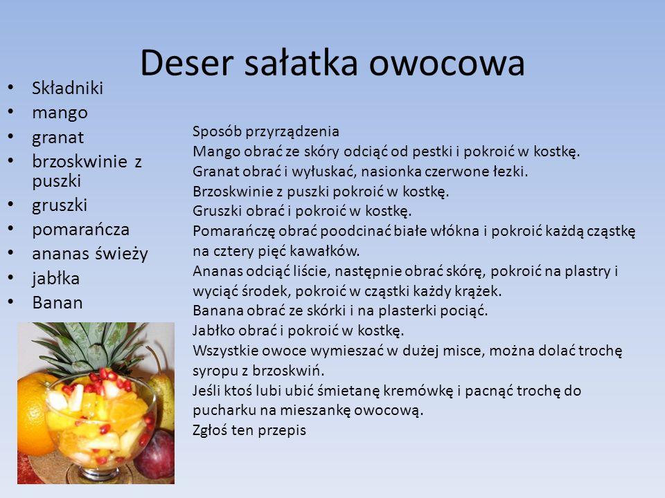 Deser sałatka owocowa Składniki mango granat brzoskwinie z puszki gruszki pomarańcza ananas świeży jabłka Banan Sposób przyrządzenia Mango obrać ze sk