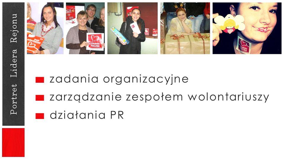 zadania organizacyjne zarządzanie zespołem wolontariuszy działania PR Portret Lidera Rejonu