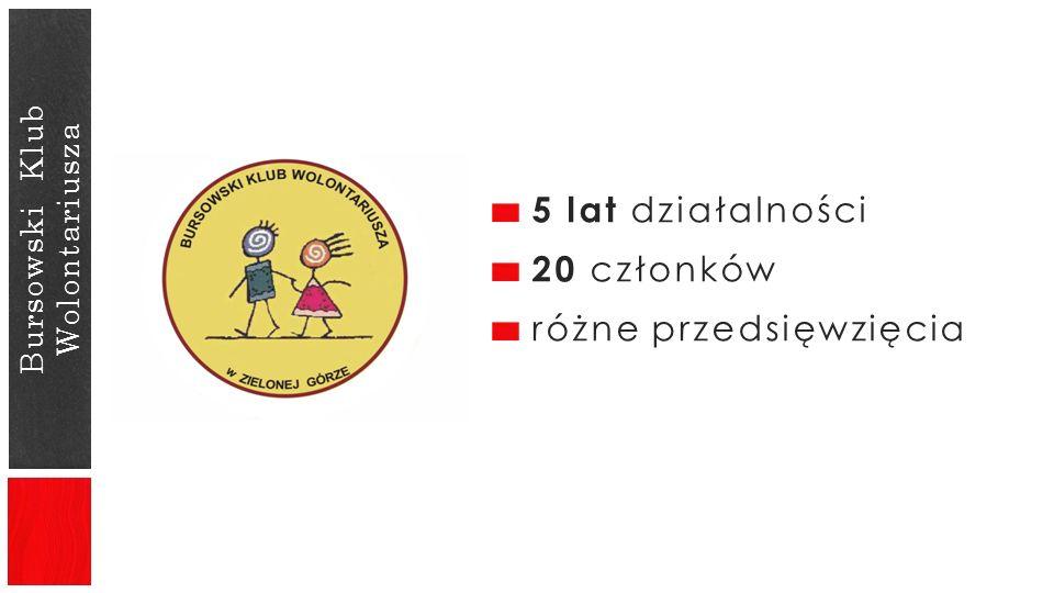 Bursowski Klub Wolontariusza 5 lat działalności 20 członków różne przedsięwzięcia