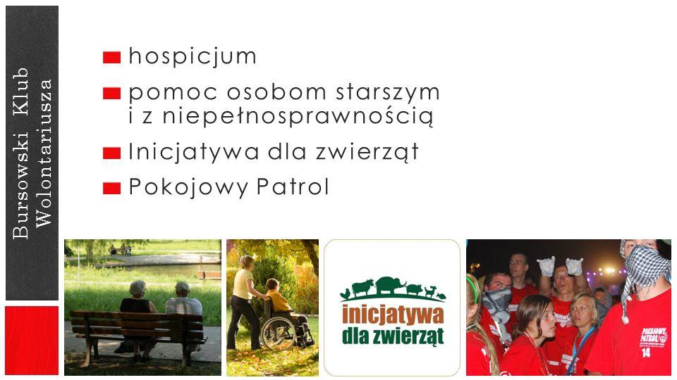 Bursowski Klub Wolontariusza hospicjum pomoc osobom starszym i z niepełnosprawnością Inicjatywa dla zwierząt Pokojowy Patrol
