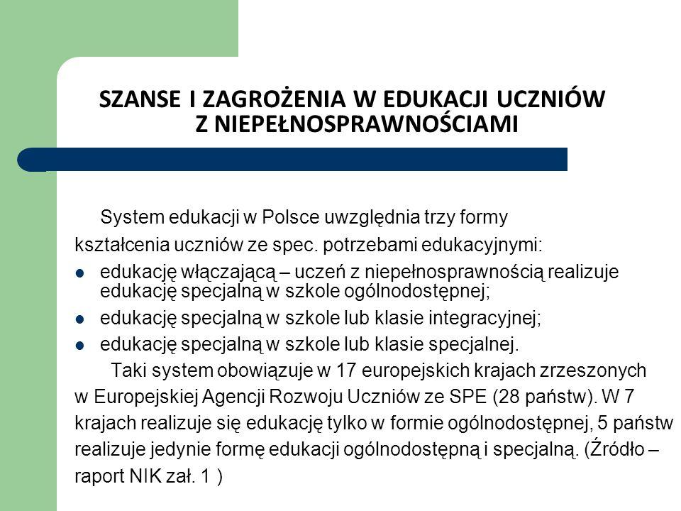 SZANSE I ZAGROŻENIA W EDUKACJI UCZNIÓW Z NIEPEŁNOSPRAWNOŚCIAMI System edukacji w Polsce uwzględnia trzy formy kształcenia uczniów ze spec.