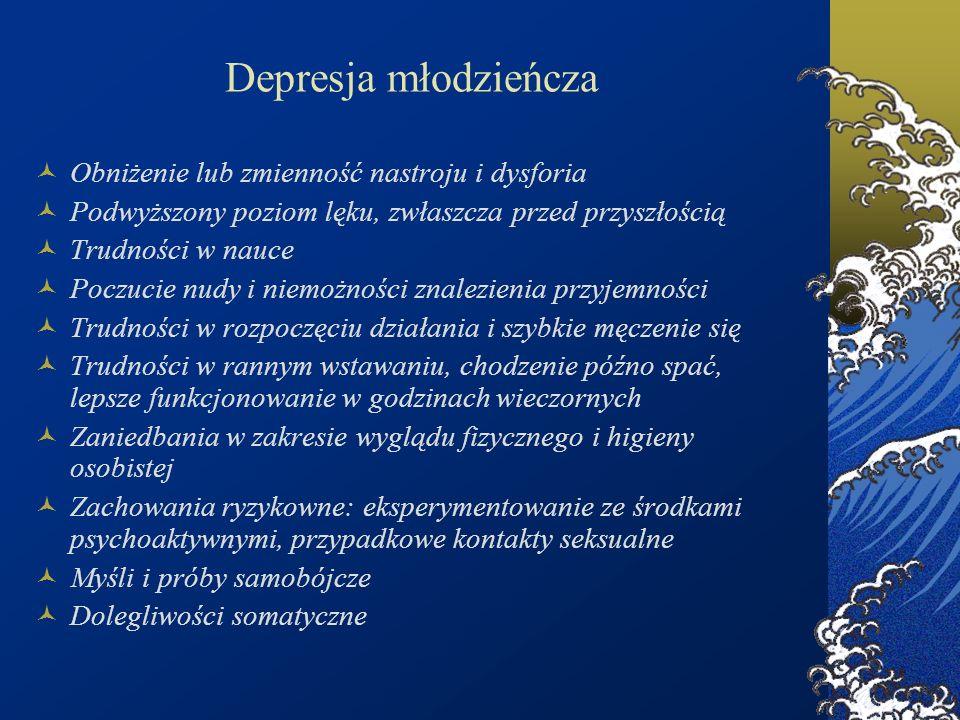 Depresja młodzieńcza Obniżenie lub zmienność nastroju i dysforia Podwyższony poziom lęku, zwłaszcza przed przyszłością Trudności w nauce Poczucie nudy