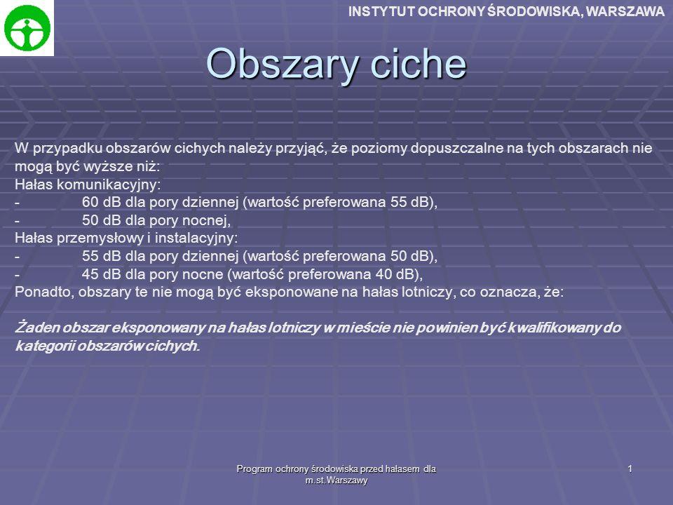 Program ochrony środowiska przed hałasem dla m.st.Warszawy 1 Obszary ciche W przypadku obszarów cichych należy przyjąć, że poziomy dopuszczalne na tych obszarach nie mogą być wyższe niż: Hałas komunikacyjny: -60 dB dla pory dziennej (wartość preferowana 55 dB), -50 dB dla pory nocnej, Hałas przemysłowy i instalacyjny: -55 dB dla pory dziennej (wartość preferowana 50 dB), -45 dB dla pory nocne (wartość preferowana 40 dB), Ponadto, obszary te nie mogą być eksponowane na hałas lotniczy, co oznacza, że: Żaden obszar eksponowany na hałas lotniczy w mieście nie powinien być kwalifikowany do kategorii obszarów cichych.