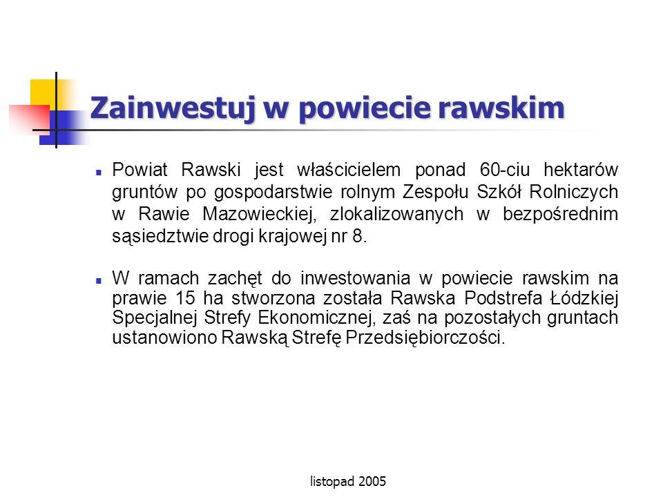 listopad 2005 Zainwestuj w powiecie rawskim Powiat Rawski jest właścicielem ponad 60-ciu hektarów gruntów po gospodarstwie rolnym Zespołu Szkół Rolnic