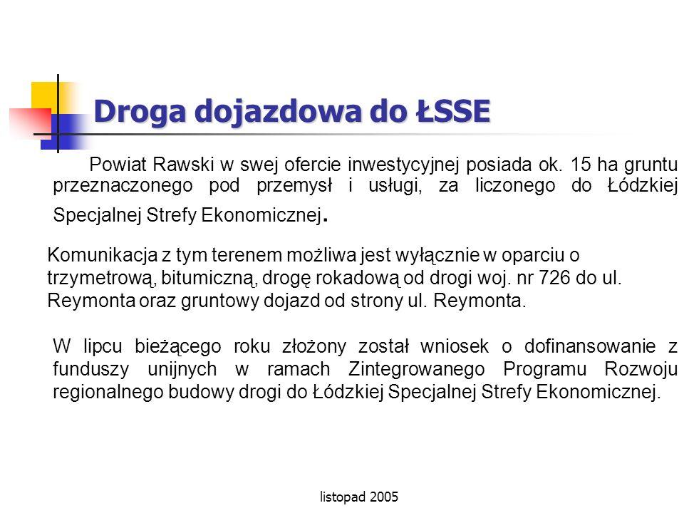 Droga dojazdowa do ŁSSE Powiat Rawski w swej ofercie inwestycyjnej posiada ok. 15 ha gruntu przeznaczonego pod przemysł i usługi, za liczonego do Łódz