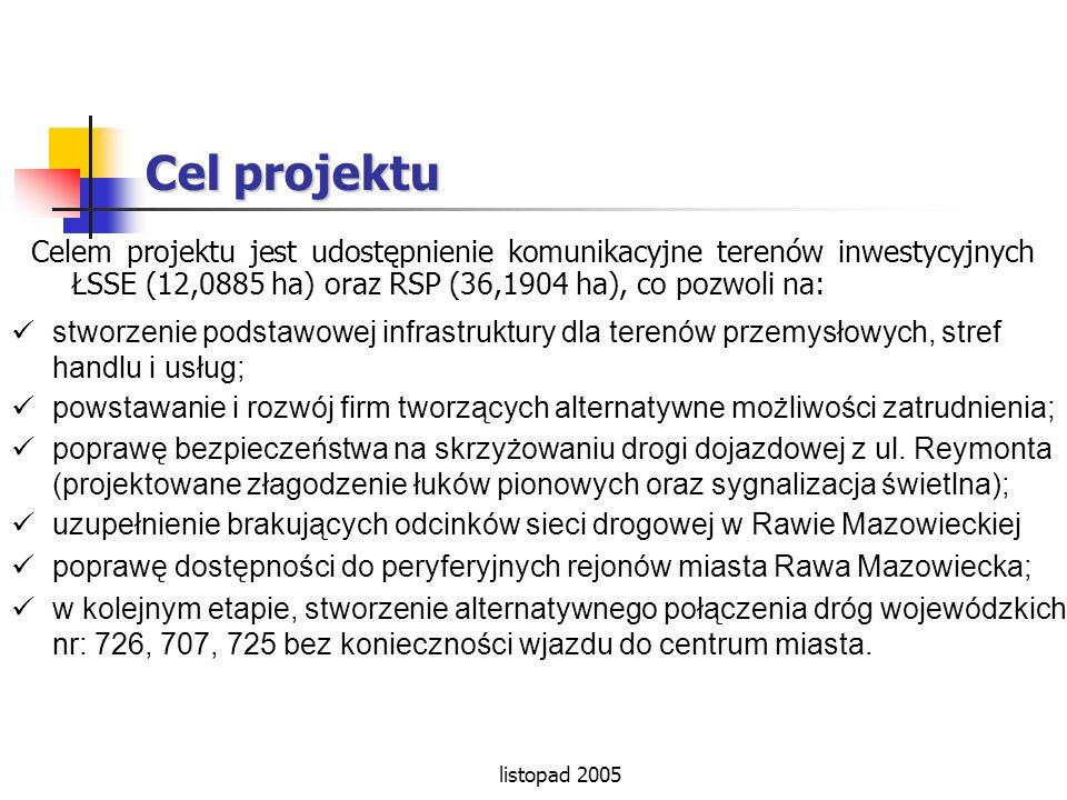 listopad 2005 Cel projektu Celem projektu jest udostępnienie komunikacyjne terenów inwestycyjnych ŁSSE (12,0885 ha) oraz RSP (36,1904 ha), co pozwoli