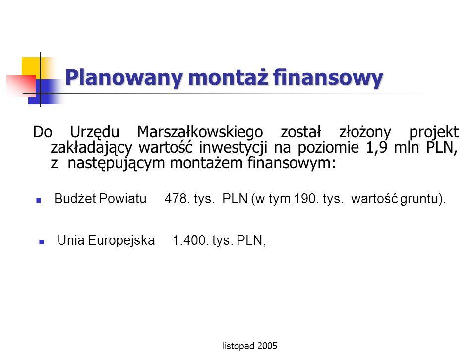 listopad 2005 Planowany montaż finansowy Do Urzędu Marszałkowskiego został złożony projekt zakładający wartość inwestycji na poziomie 1,9 mln PLN, z n
