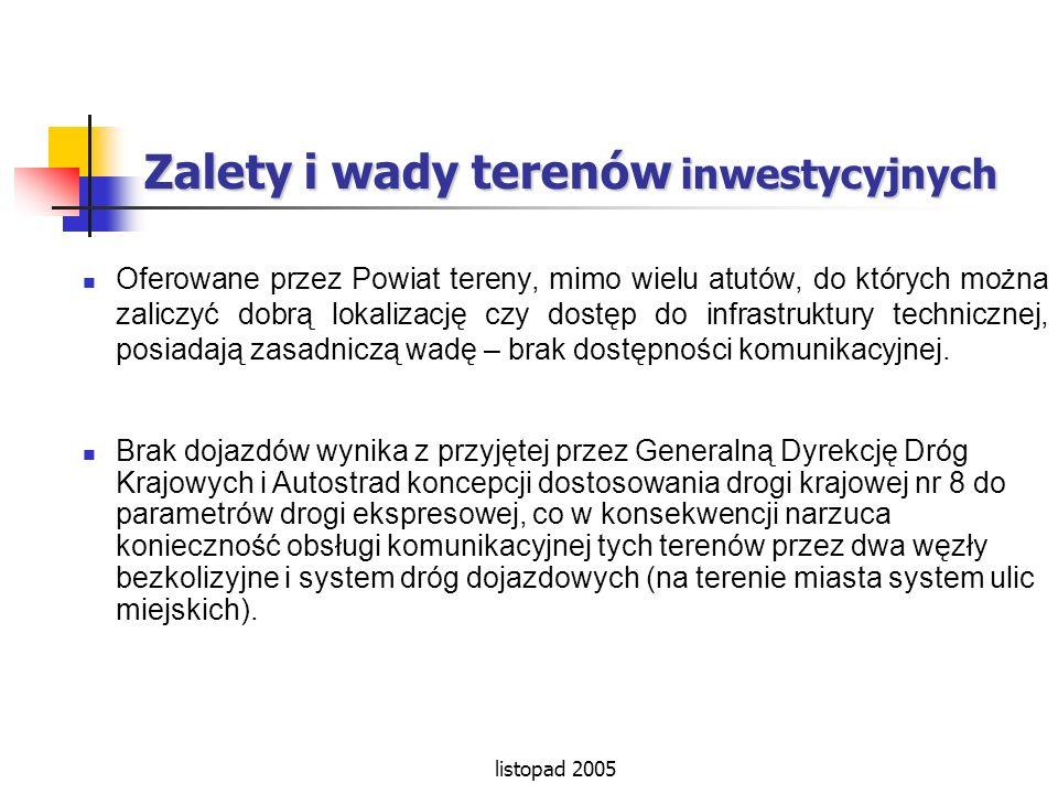 listopad 2005 Zalety i wady terenów inwestycyjnych Oferowane przez Powiat tereny, mimo wielu atutów, do których można zaliczyć dobrą lokalizację czy d