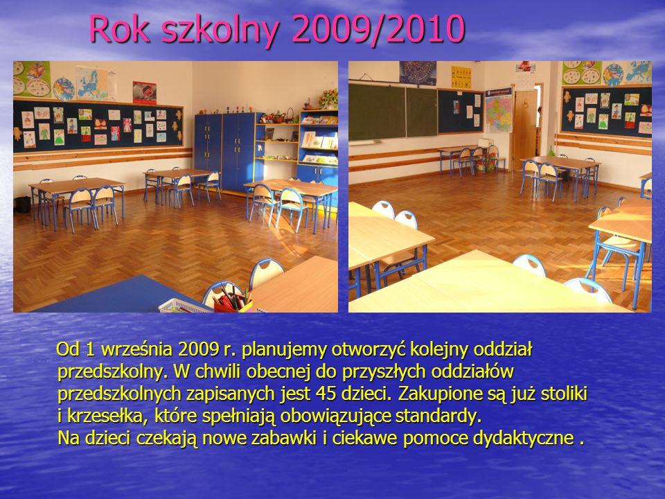 Rok szkolny 2009/2010 Od 1 września 2009 r. planujemy otworzyć kolejny oddział przedszkolny. W chwili obecnej do przyszłych oddziałów przedszkolnych z