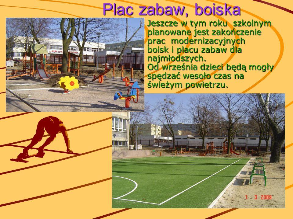 Plac zabaw, boiska Plac zabaw, boiska Jeszcze w tym roku szkolnym planowane jest zakończenie prac modernizacyjnych boisk i placu zabaw dla najmłodszyc