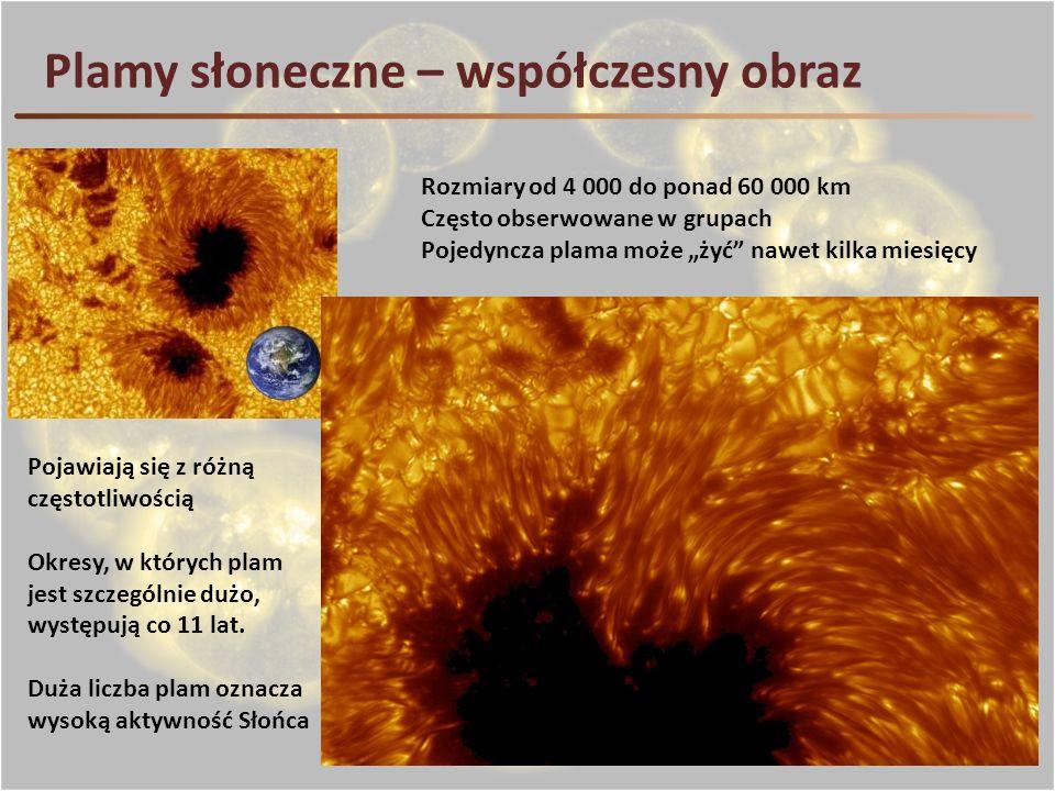 Plamy słoneczne – współczesny obraz Rozmiary od 4 000 do ponad 60 000 km Często obserwowane w grupach Pojedyncza plama może żyć nawet kilka miesięcy P