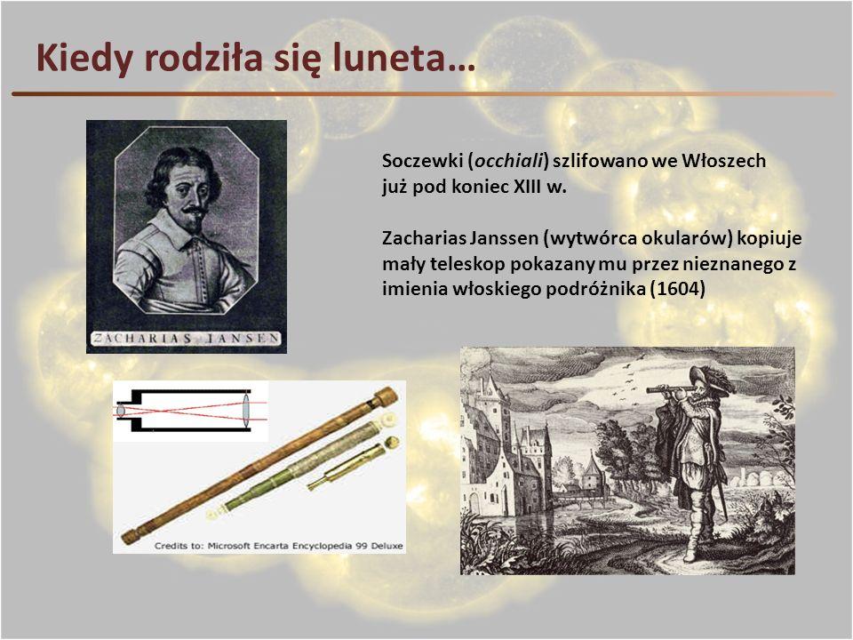 Kiedy rodziła się luneta… Soczewki (occhiali) szlifowano we Włoszech już pod koniec XIII w. Zacharias Janssen (wytwórca okularów) kopiuje mały telesko