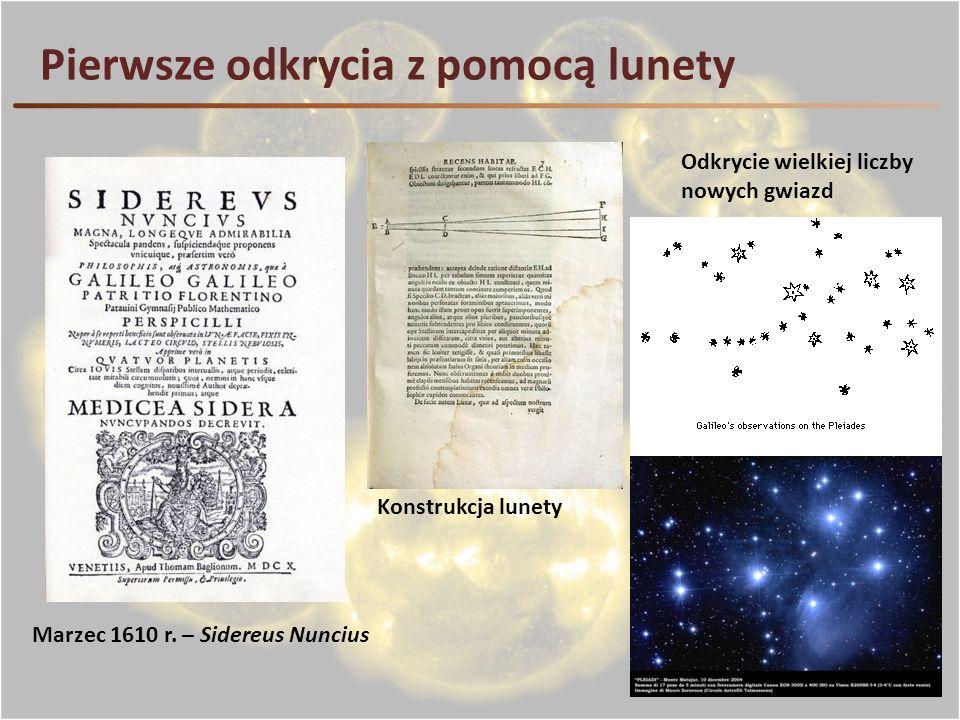 Pierwsze odkrycia z pomocą lunety Marzec 1610 r. – Sidereus Nuncius Konstrukcja lunety Odkrycie wielkiej liczby nowych gwiazd
