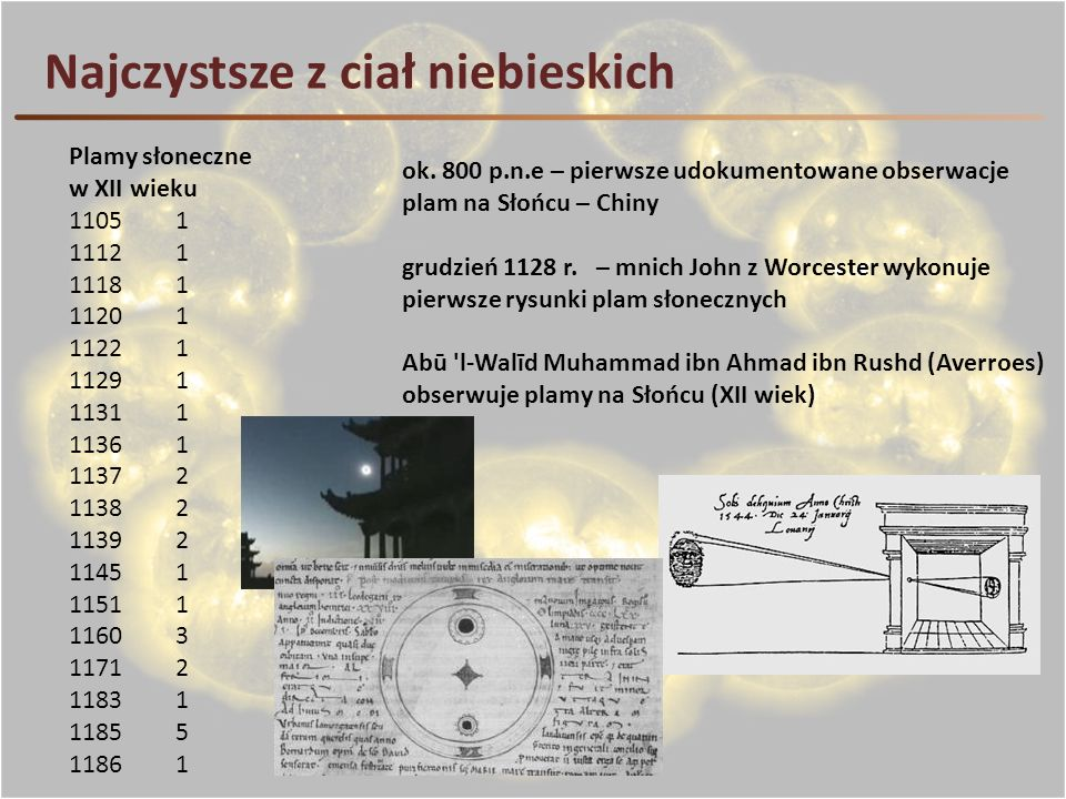 Najczystsze z ciał niebieskich ok. 800 p.n.e – pierwsze udokumentowane obserwacje plam na Słońcu – Chiny grudzień 1128 r. – mnich John z Worcester wyk