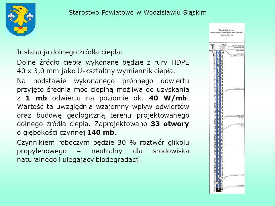 Instalacja dolnego źródła ciepła: Dolne źródło ciepła wykonane będzie z rury HDPE 40 x 3,0 mm jako U-kształtny wymiennik ciepła. Na podstawie wykonane