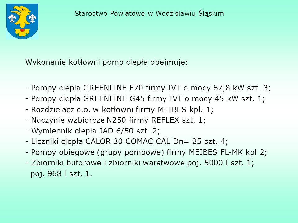 Starostwo Powiatowe w Wodzisławiu Śląskim Wykonanie kotłowni pomp ciepła obejmuje: - Pompy ciepła GREENLINE F70 firmy IVT o mocy 67,8 kW szt. 3; - Pom