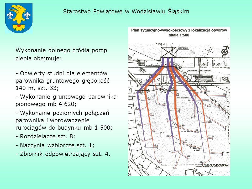 Wykonanie dolnego źródła pomp ciepła obejmuje: - Odwierty studni dla elementów parownika gruntowego głębokość 140 m, szt. 33; - Wykonanie gruntowego p