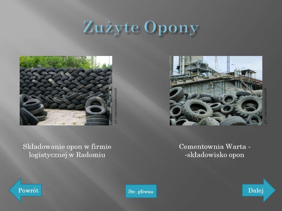 Składowanie opon w firmie logistycznej w Radomiu Cementownia Warta - -składowisko opon Powrót Str. główna Dalej gumowysurowiec.pl
