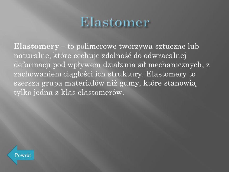 Elastomery – to polimerowe tworzywa sztuczne lub naturalne, które cechuje zdolność do odwracalnej deformacji pod wpływem działania sił mechanicznych,