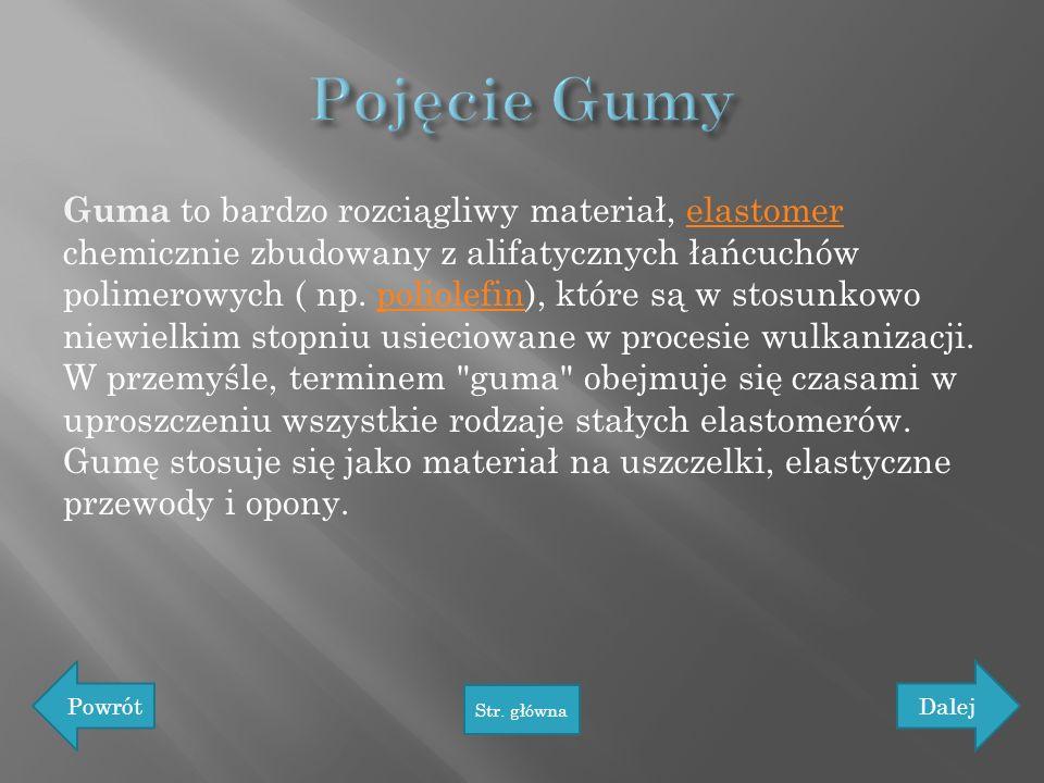 Guma to bardzo rozciągliwy materiał, elastomer chemicznie zbudowany z alifatycznych łańcuchów polimerowych ( np. poliolefin), które są w stosunkowo ni