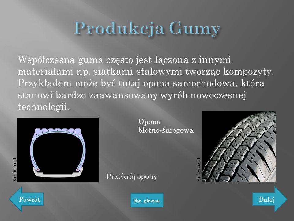 Współczesna guma często jest łączona z innymi materiałami np. siatkami stalowymi tworząc kompozyty. Przykładem może być tutaj opona samochodowa, która