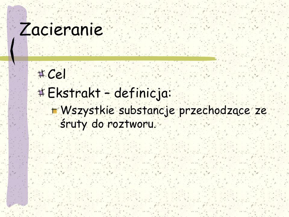 Zacieranie Cel Ekstrakt – definicja: Wszystkie substancje przechodzące ze śruty do roztworu.
