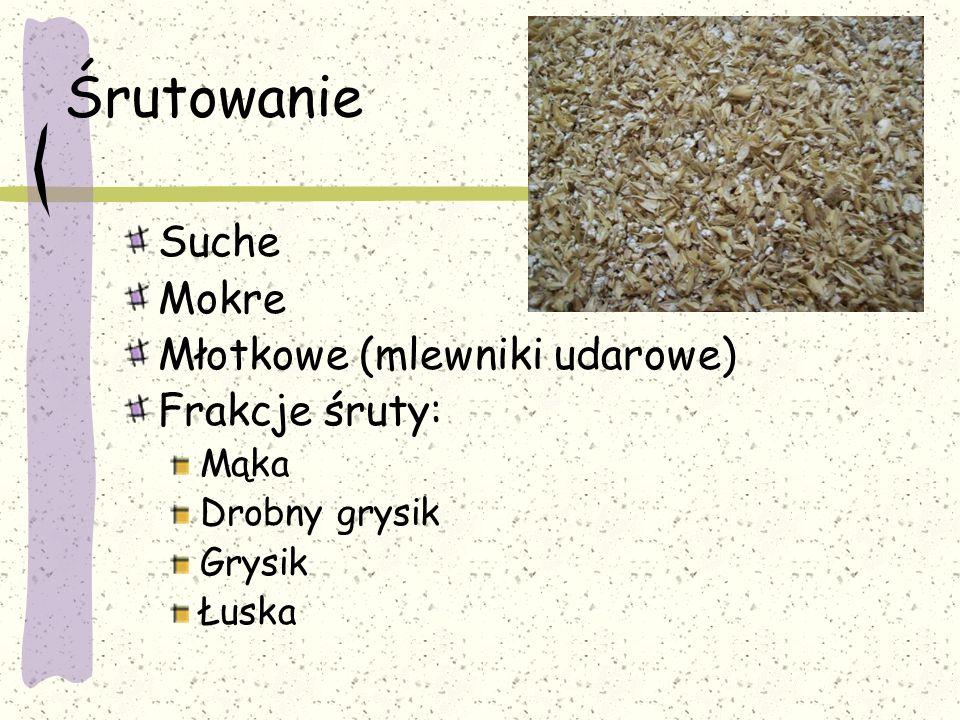 Śrutowanie Suche Mokre Młotkowe (mlewniki udarowe) Frakcje śruty: Mąka Drobny grysik Grysik Łuska