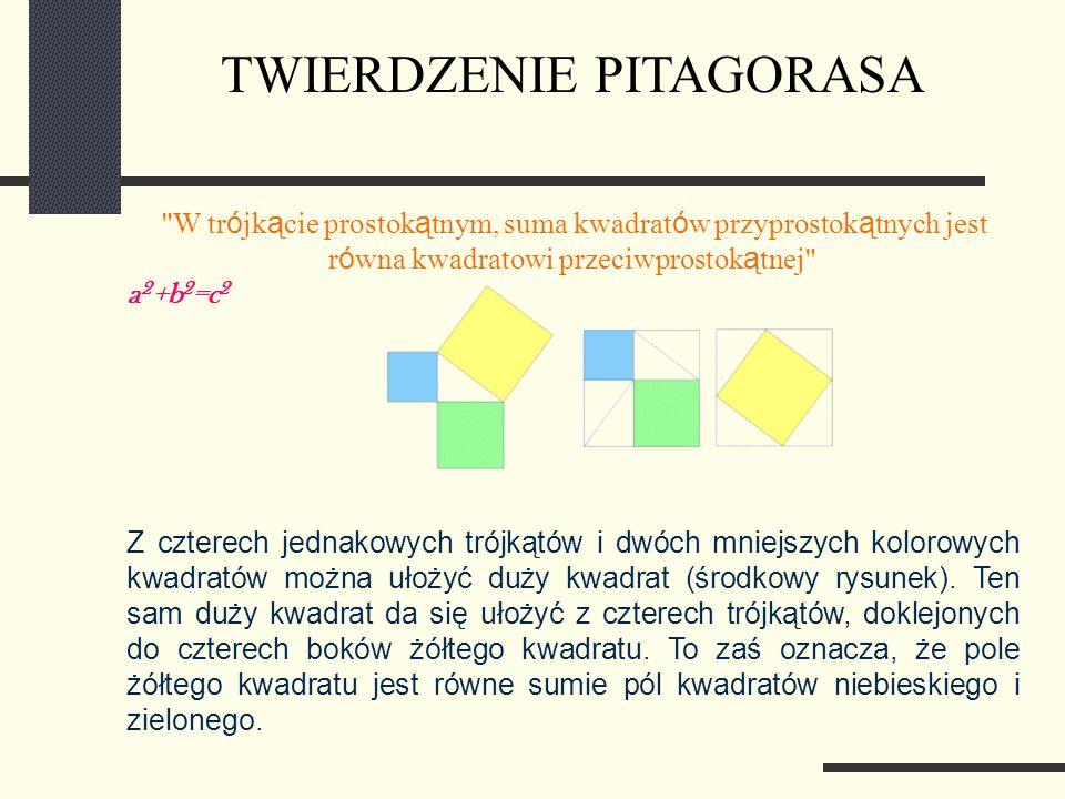 W tr ó jk ą cie prostok ą tnym, suma kwadrat ó w przyprostok ą tnych jest r ó wna kwadratowi przeciwprostok ą tnej a 2 +b 2 =c 2 Z czterech jednakowych trójkątów i dwóch mniejszych kolorowych kwadratów można ułożyć duży kwadrat (środkowy rysunek).
