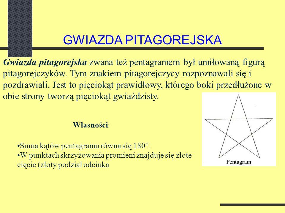 Gwiazda pitagorejska zwana też pentagramem był umiłowaną figurą pitagorejczyków.