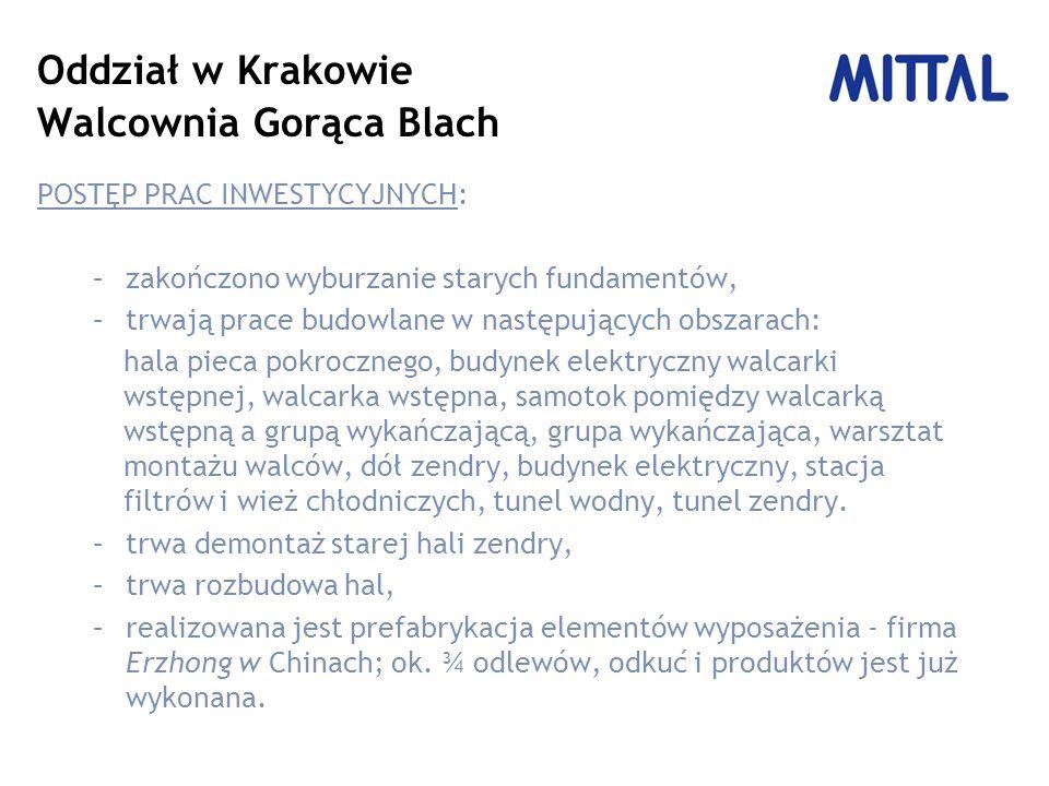 Oddział w Krakowie Walcownia Gorąca Blach POSTĘP PRAC INWESTYCYJNYCH: –zakończono wyburzanie starych fundamentów, –trwają prace budowlane w następując
