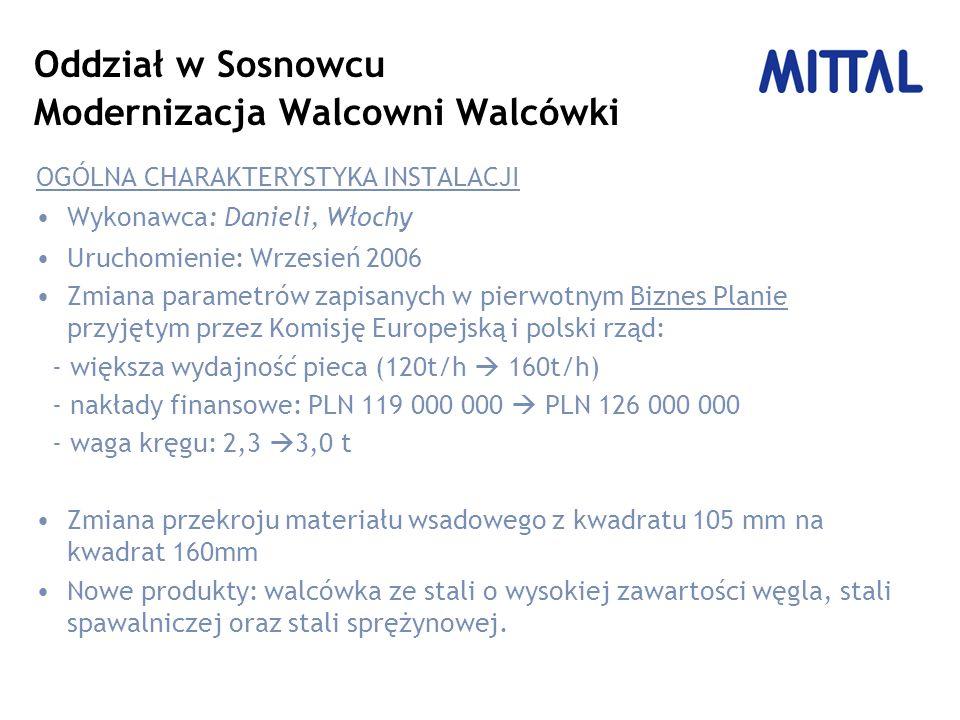 Oddział w Sosnowcu Modernizacja Walcowni Walcówki OGÓLNA CHARAKTERYSTYKA INSTALACJI Wykonawca: Danieli, Włochy Uruchomienie: Wrzesień 2006 Zmiana parametrów zapisanych w pierwotnym Biznes Planie przyjętym przez Komisję Europejską i polski rząd: - większa wydajność pieca (120t/h 160t/h) - nakłady finansowe: PLN 119 000 000 PLN 126 000 000 - waga kręgu: 2,3 3,0 t Zmiana przekroju materiału wsadowego z kwadratu 105 mm na kwadrat 160mm Nowe produkty: walcówka ze stali o wysokiej zawartości węgla, stali spawalniczej oraz stali sprężynowej.